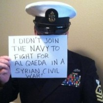 Subversive selfies? Earlier this month, what appeared to be American soldiers and sailors posted photos of themselves online to protest possible air strikes on Syria.