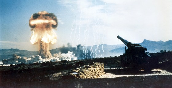 The U.S. Army fires a nuclear artillery shell as part of the 1953 Upshot-Knothole Grable tests, held in Nevada.