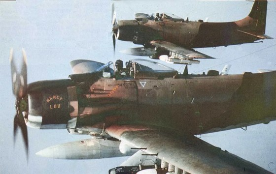 Although designed as ground attack aircraft, on a handful of occasions, Douglas A-1 Skyraiders mixed it up with Soviet-made fighter jets over Vietnam.
