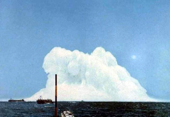 The detonation of a nuclear depth charge off California.