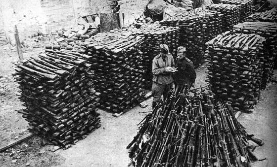 Stockpiled German weapons in Allied custody.