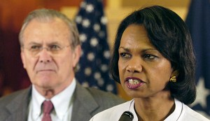 Rumsfeld and Rice invoked the Werewolves after the fall of Baghdad. (Image source: WikiCommons)