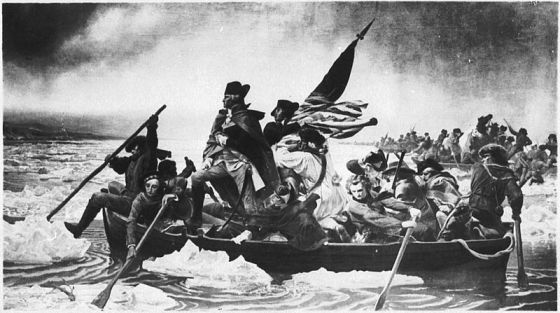 A surviving photograph of the original Washington Crossing the Delaware on display in Breman, Germany.