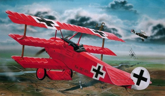 Thijs Postma's famous painting of the Red Baron's best-known aircraft. The Fokker Dr.I.  For more of Postma's work, visit http://www.thijspostmaaviation.nl.