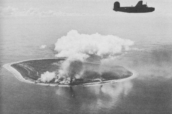 American B-24 bombers attack a Japanese airfield on Nauru in 1943.