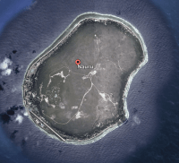 A Google Earth shot of Nauru. At less than eight miles across, it's the world's smallest island nation.