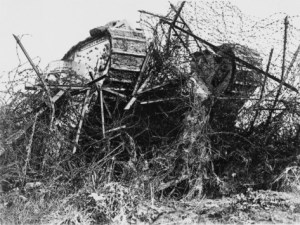 The tank was invented to blaze a path for the infantry through barbed wire.