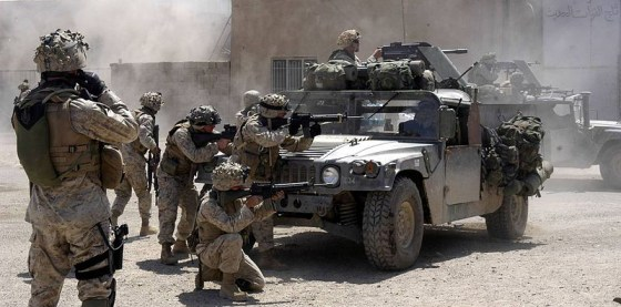Marines clear insurgents from the Iraqi city of Fallujah in 2004.