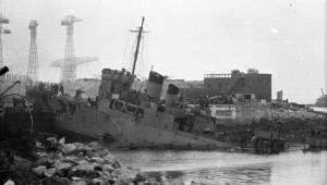 Wreckage of HMS Campbeltown after the raid on St. Nazaire.
