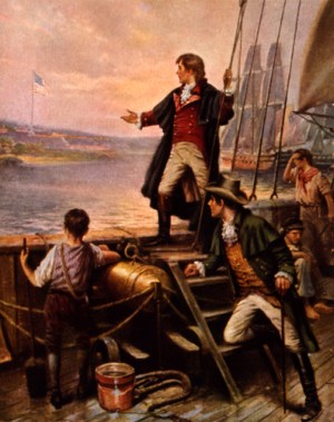 Francis Scott Key observes the U.S. flag from the deck of a British warship.