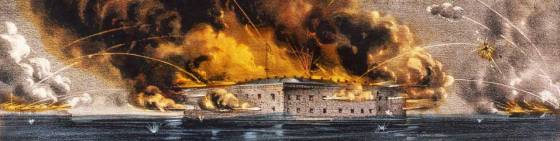 Fort Sumter under attack.