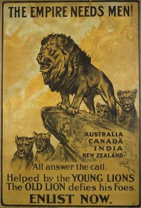 Calling all colonials, the Mother Country needs you! A First World War recruiting poster for the British Empire.