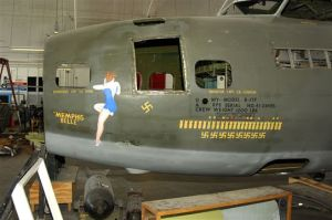 The original fuselage of the Memphis Belle as it looks today.