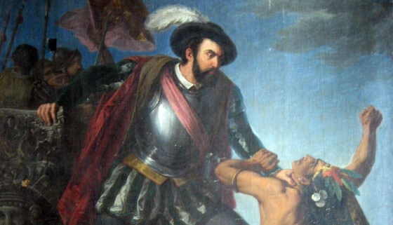 Karma's a bitch! Hernan Cortes slaughtering his way across the Americas. He returned home to become a nobody.