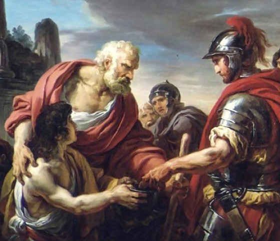The blind Belisarius gets a hand-out from one of his former soldiers.