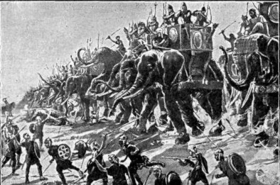 Hannibal riding high on his war elephants.