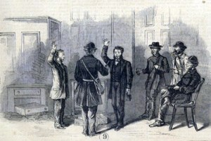 Confederate raiders force tellers in a Vermont bank at gunpoint to pledge their allegiance to the South. The Rebel foray into St. Albans was the northern most land action of the U.S. Civil War.