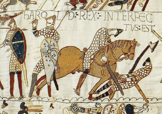 King Harold of England dies at the Battle of Hastings as depicted in the Bayeux Tapestry.