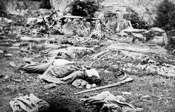 """Alexander Gardner's famous Gettysburg picture """"A Sharpshooter's Last Sleep"""" features a corpse that looks a lot like the body in another photo taken elsewhere on the battlefield. Did Gardner move the corpse?"""