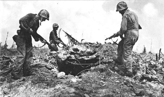 U.S. Marines clear a Japanese-held bunker on the Marshal Islands in 1944.