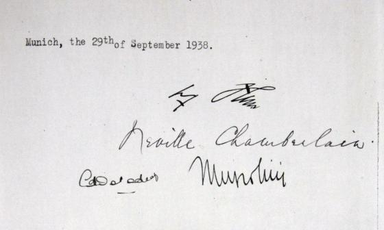 The British National Archives has a copy of the Munich Agreement signed by Hitler (top), Chamberlain (second from top), the French prime minister (bottom left)  and Mussolini (bottom right).