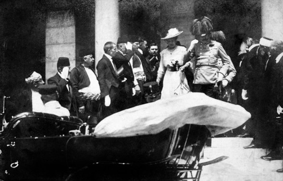 The Archduke Ferdinand and his wife Duchess Sophie in Sarajevo just minutes before their deaths.