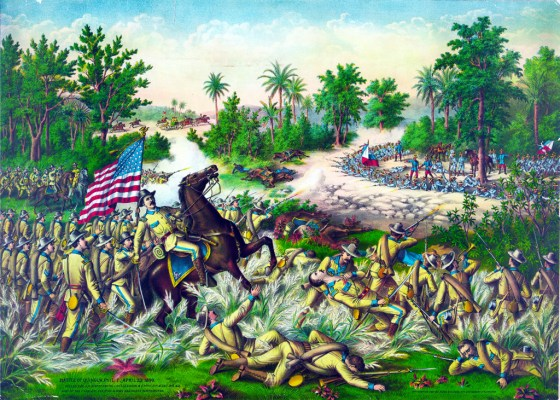 U.S. troops battle the Spanish.