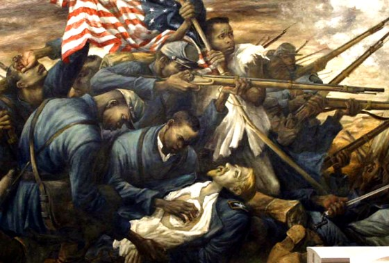 """Shaw at Wagner"" by Carlos Lopez dramatizes the 54th Massachusetts Infantry in its most famous battle. Hundreds of thousands of African Americans enlisted to crush slavery. How many actually took up arms to defend the South? The debate rages. Image courtesy Creative Commons."