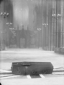 The casket of Britain's so-called Unknown Warrior lies in state at London's Westminster Abbey, Nov. 11, 1920.