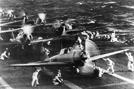 Japanese zeros prepare to depart for the attack on Pearl Harbor.