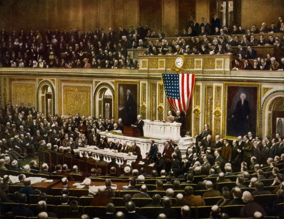 President Woodrow Wilson urges a joint session of Congress to declare war on the German Empire. Four days later, legislators passed the resolution. (Image courtesy the Library of Congress)