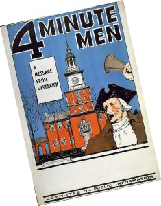 A 1917 poster promoting a Four-Minute Man speaking engagement.