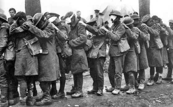 British gas casualties at a dressing station.