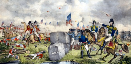 Future president Andrew Jackson commands U.S. troops at New Orleans, Jan. 8, 1815.