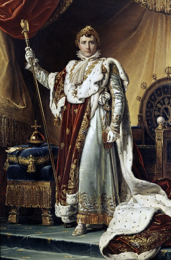 Napoleon in his imperial robes, by François Gérard, 1805. Like most paintings of Napoleon, this is an exercise in iconography rather than realism.