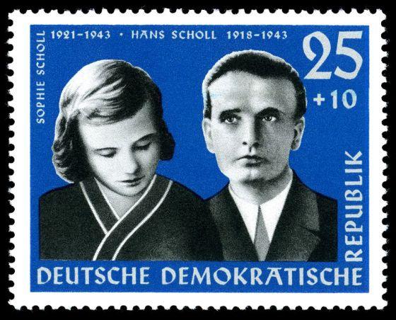 A 1961 German postage stamp commemorating Hans and Sophie Scholl.