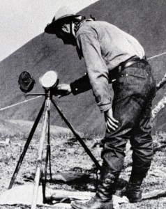 An example of a heliograph -- a tripod-mounted signal mirror. Morse code messages could be transmitted with the device. (Image source: WikiCommons)
