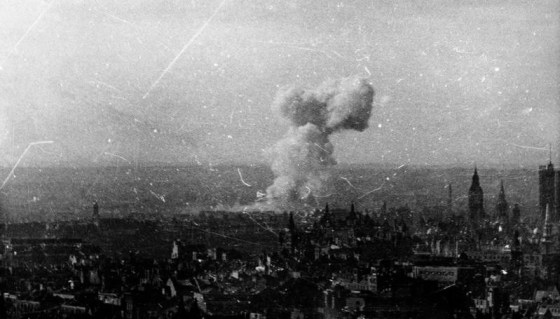 A V-1 explodes in Westminster. (Image source: Ministry of Information Stills Collection via. WW2Today.com)