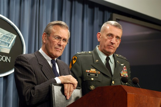 Tommy Franks and Defense Secretary Donald Rumsfeld in the Pentagon in 2003. (Image source: WikiCommons)