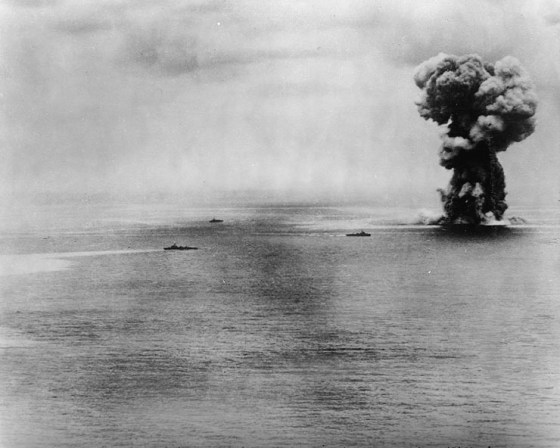 The last moments of the battleship Yamato.