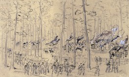 Federal troops set fire to McPhersonville, 1865.