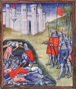 Edward III counts the dead after the Battle of Crécy. England lost fewer than 200 men; France and its allies suffered ten times the casualties.