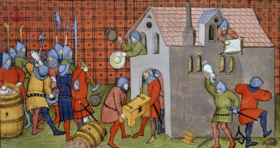 Devastation was part of the daily business of war, but was rarely depicted by artists. This rare pillaging scene comes from a late-14th  Century French manuscript. Commanders used looting to enrich their own soldiers and impoverish the enemy; devastation could also be used to provoke battle. The soldiers shown here are urban militiamen from Paris. The figure at right is stomping a metal bowl flat for easier packing.