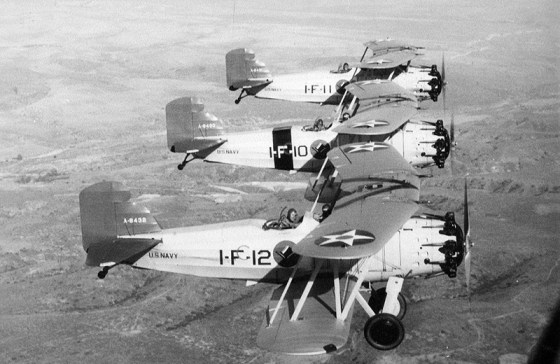 The Ju 87 was inspired by American dive-bombers like the Curtiss F8C (Image source: WikiCommons)