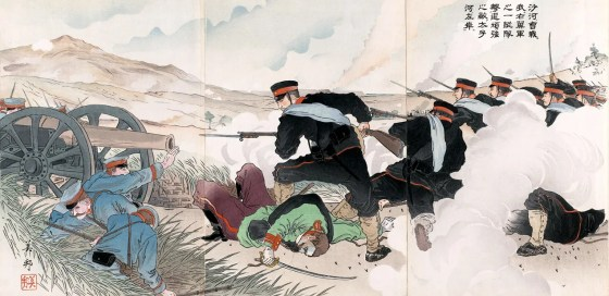 "A Japanese depiction of the 1904 Battle of Shaho, China. ""In the battle of the Sha River, a company of our forces drives a strong enemy force to the left bank of the Taizi River."" (Image source: WikiCommons)"
