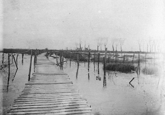The battlefields in Belgium became lakes in 1914 as allied commanders broke a series of levies. (Image source: WikiCommons)