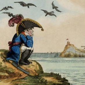 A cartoon of Napoleon in exile.