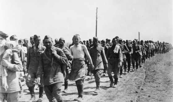 Soviet POWs march into captivity in 1941. What role did the purge play in the collapse of Stalin's defences? (Image source: German Federal Archive)