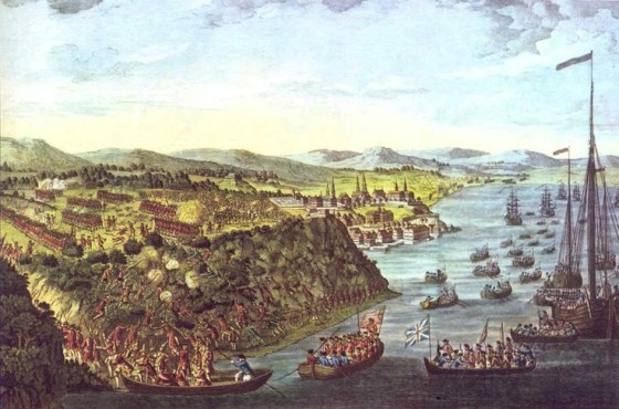 British warships sail beneath the guns of the Fortress Quebec, 1759. Following the execution of Byng, Royal Navy commanders rarely hesitated to take risks. (Image source: WikiCommons)