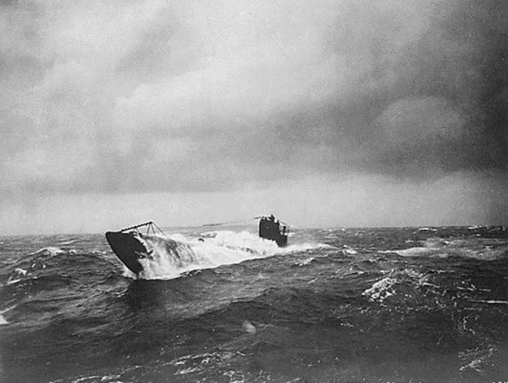 A German U-boat surfaces somewhere in the North Sea during World War One. (Image source: WikiCommons)